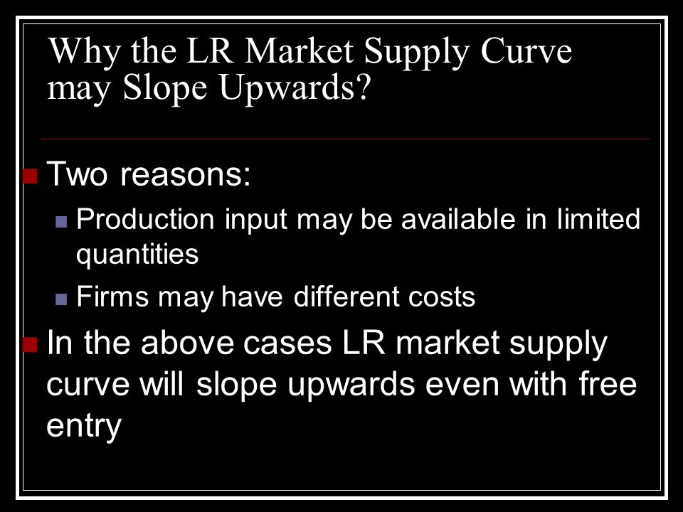 Why the LR Market Supply Curve may Slope Upwards