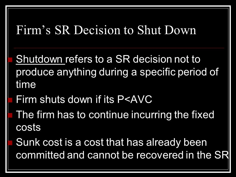 Firm's SR Decision to Shut Down