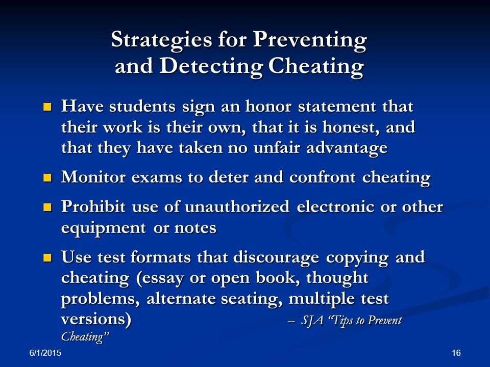 academic dishonesty and prevalent cheating strategy Prevention strategies academic dishonesty may not always occur within the confines of the classroom cheating, falsification.