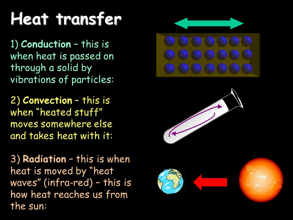 Heat transfer 1) Conduction – this is when heat is passed on through a solid by vibrations of particles: