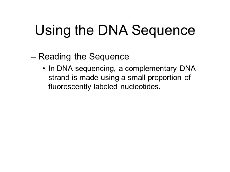 Using the DNA Sequence Reading the Sequence