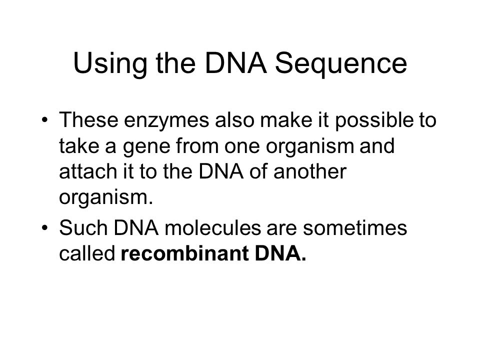 Using the DNA Sequence These enzymes also make it possible to take a gene from one organism and attach it to the DNA of another organism.