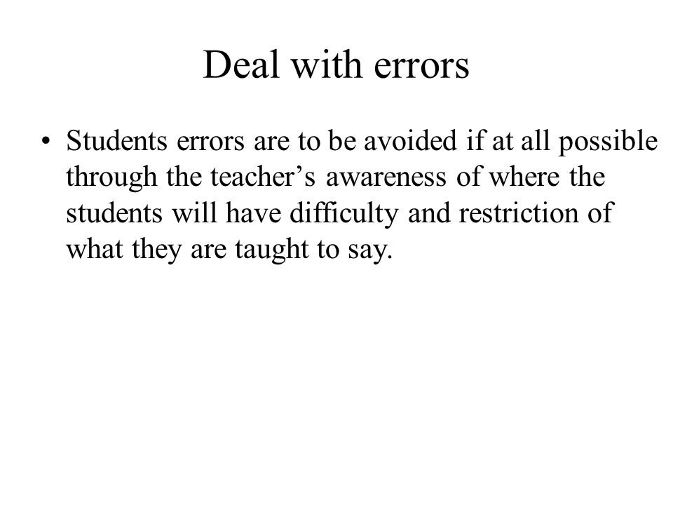 Deal with errors