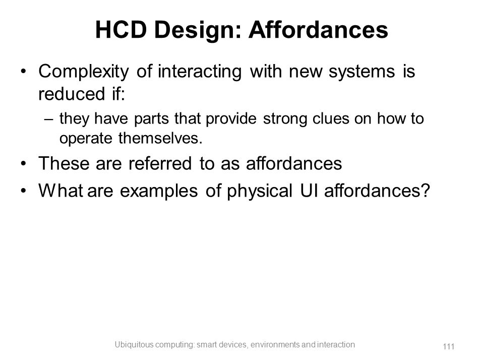 HCD Design: Affordances