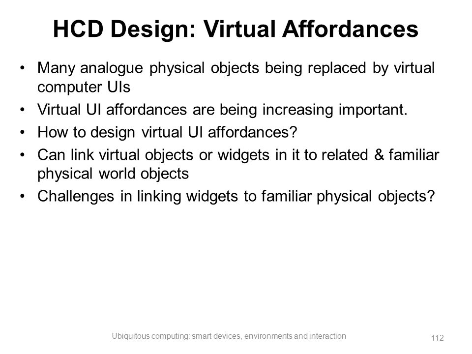 HCD Design: Virtual Affordances