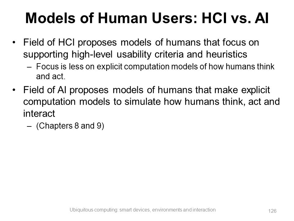 Models of Human Users: HCI vs. AI