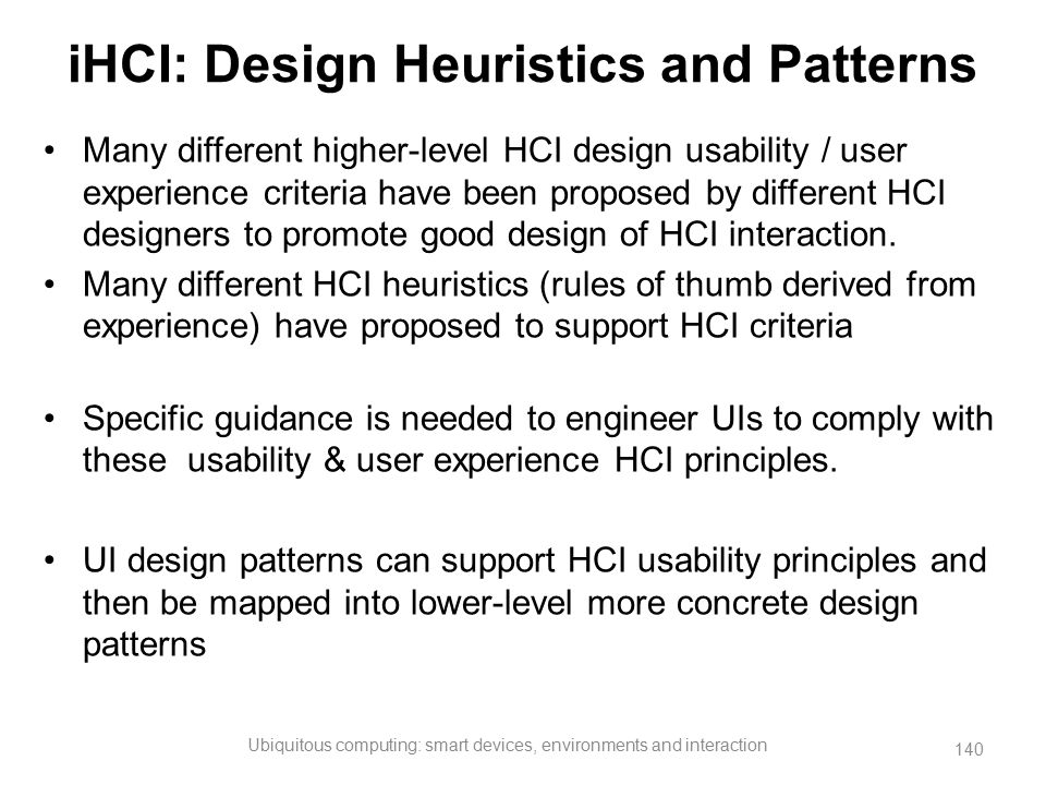 iHCI: Design Heuristics and Patterns