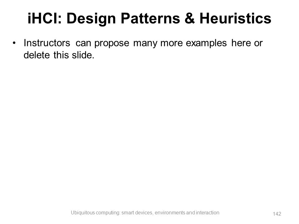 iHCI: Design Patterns & Heuristics