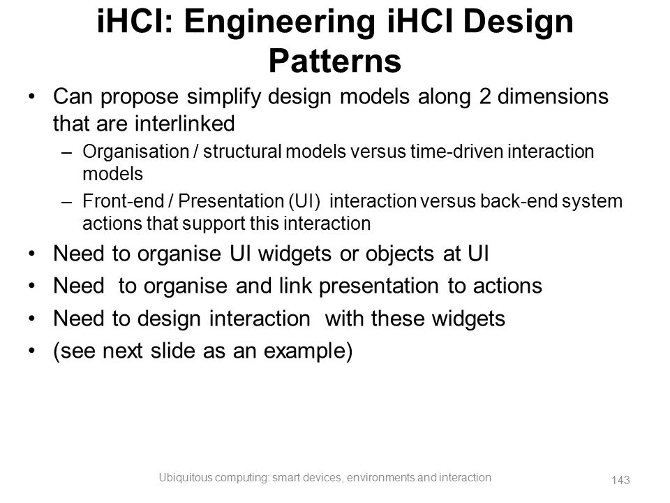iHCI: Engineering iHCI Design Patterns