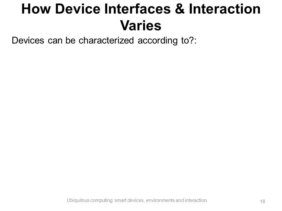 How Device Interfaces & Interaction Varies