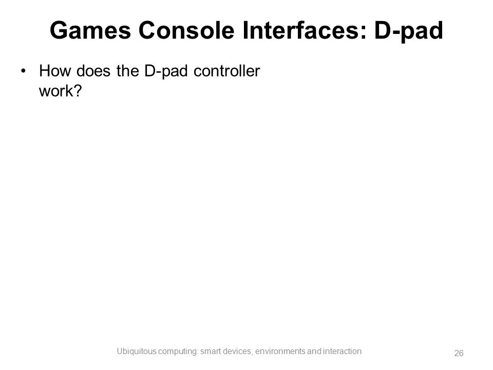Games Console Interfaces: D-pad