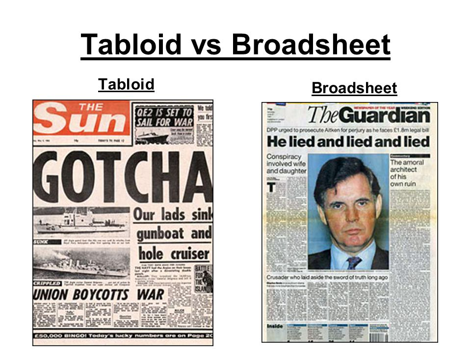 broadsheet and tabloid comparison essay Compare and contrast a tabloid and a broadsheet tabloid content fewer international/political stories, more pictures, less text, more human interest/entertainment stories.