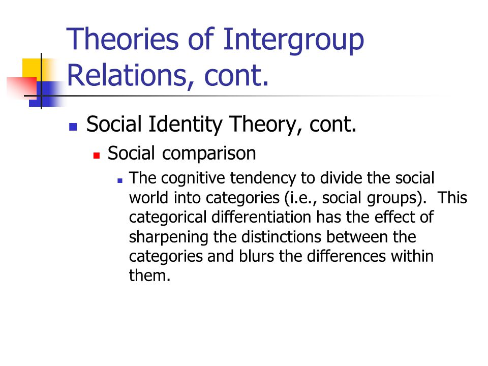 intergroup relations types of prejudice Study 50 social psy prejudice and intergroup relations chap 13 flashcards from delania s on studyblue  what type of sexism leads to the greatest reductions on .