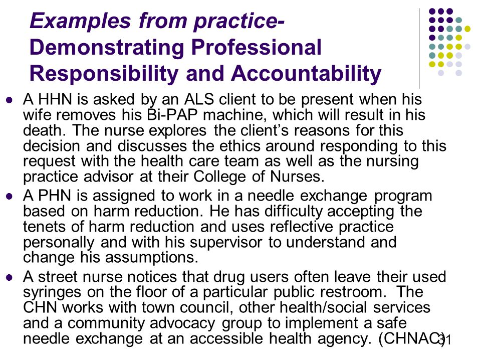 examples for accountability and responsability in nursing Responsibility [re-spon″sĭ-bil´-ĭ-te] accountability the condition of being required to account for one's actions corporate social responsibility a set of generally accepted relationships, obligations, and duties that relate to an institution's impact on the welfare of society re pon i il  y hypengyophobia responsibility vox populi a.