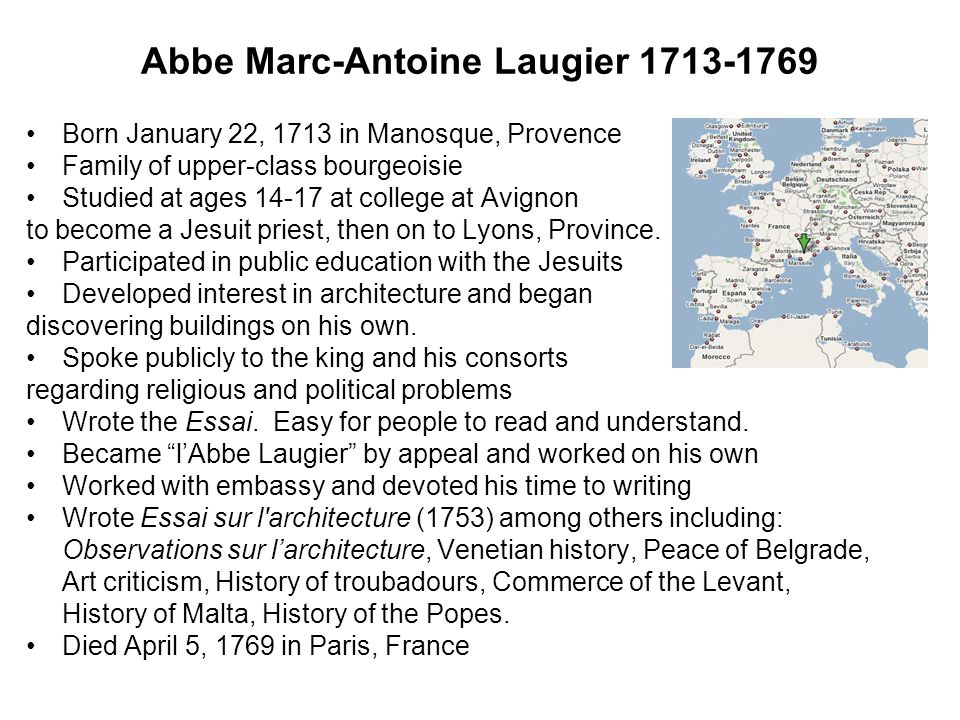 mark antoine laugiers essay on architecture Auflage von laugiers essai sur l architecture 1755)  an essay on architecture  marc antoine, is the french known name for mark antony.
