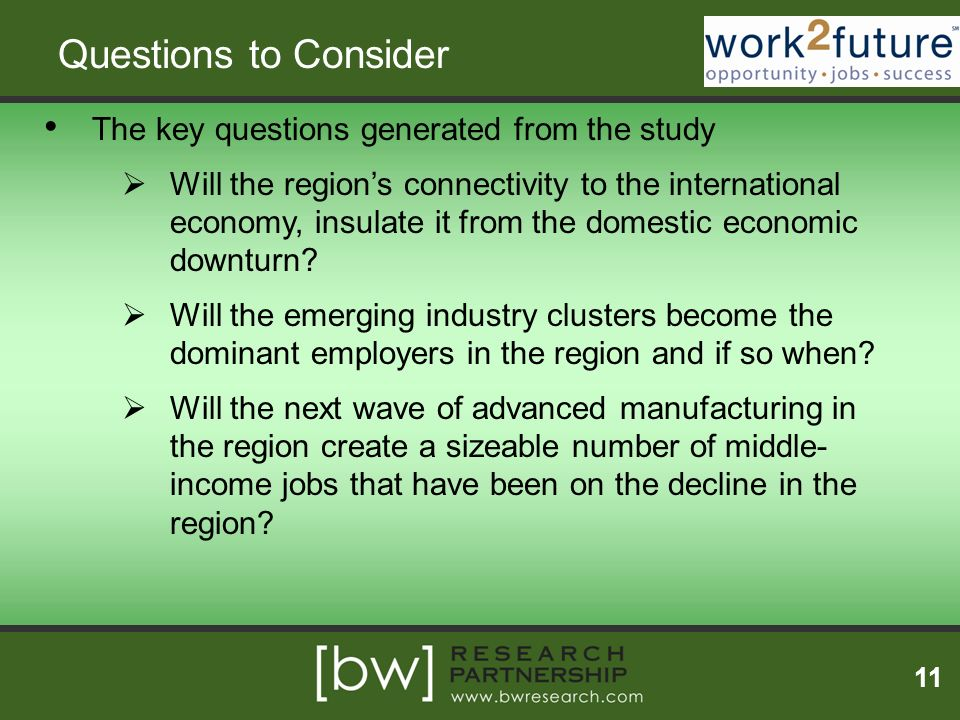 Questions to Consider The key questions generated from the study