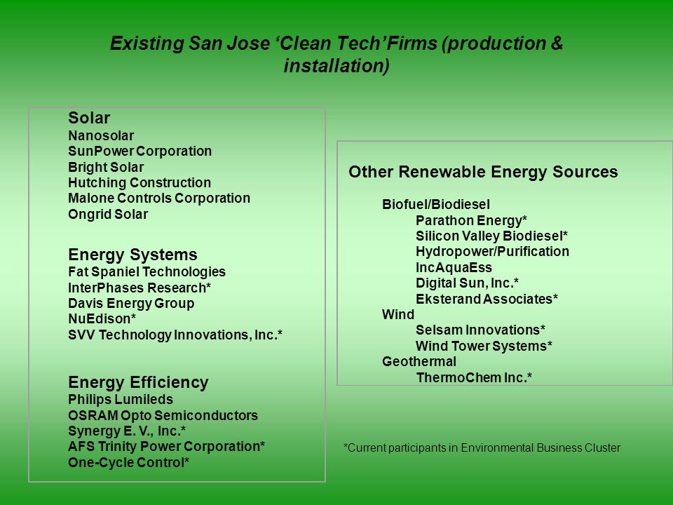Existing San Jose 'Clean Tech'Firms (production & installation)
