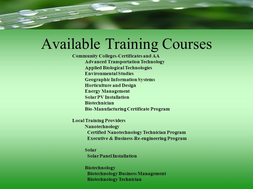 Available Training Courses