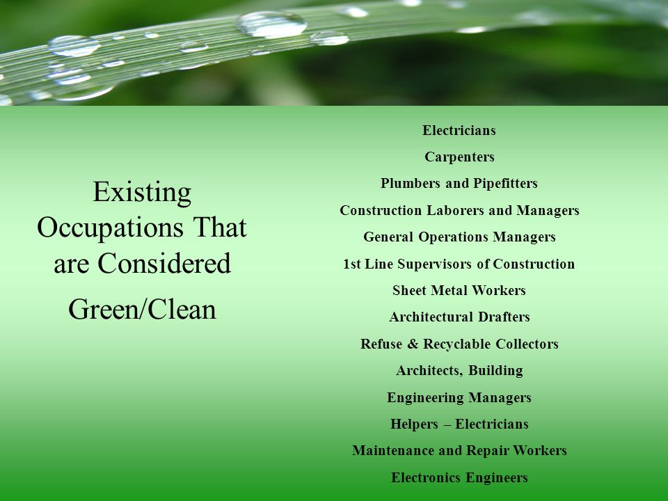 Existing Occupations That are Considered Green/Clean