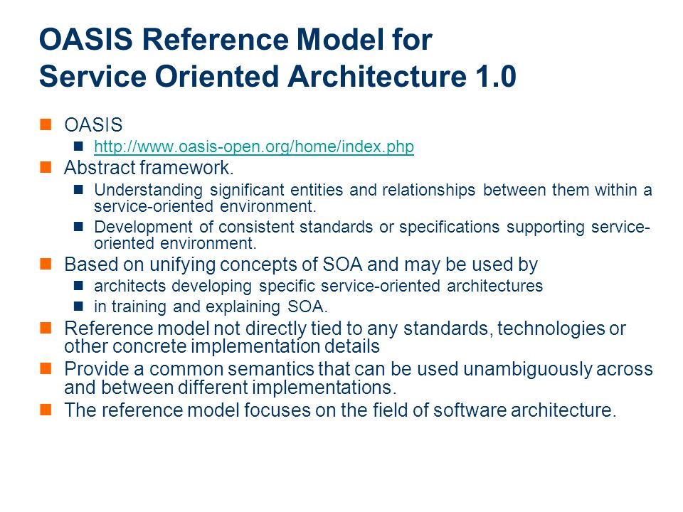 OASIS Reference Model for Service Oriented Architecture 1.0
