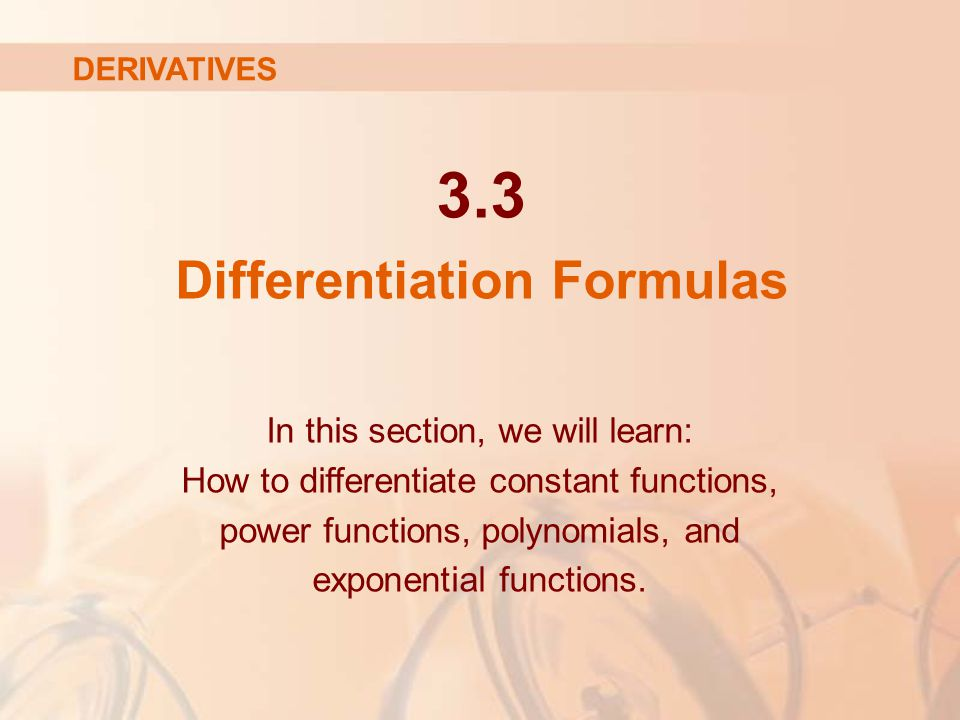 3.3 Differentiation Formulas