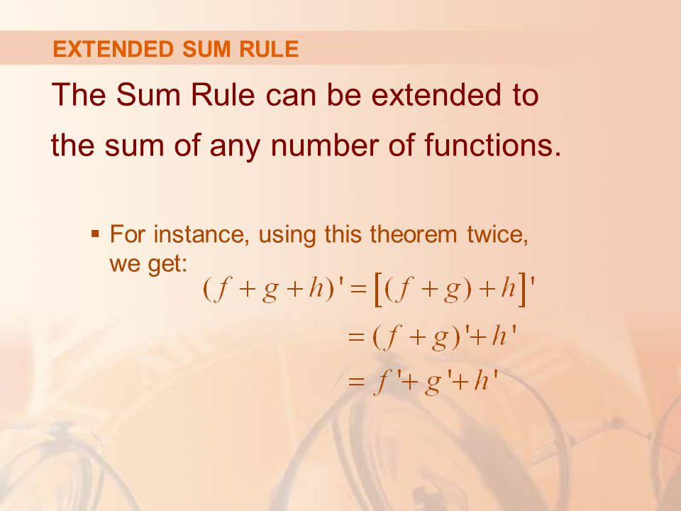 The Sum Rule can be extended to the sum of any number of functions.