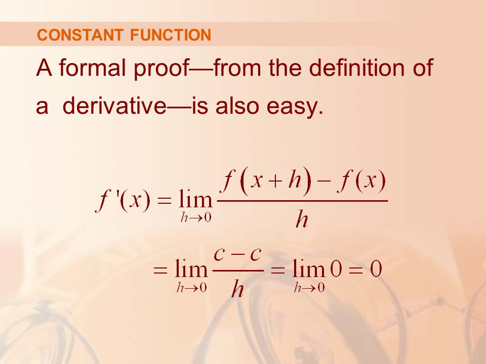 A formal proof—from the definition of a derivative—is also easy.