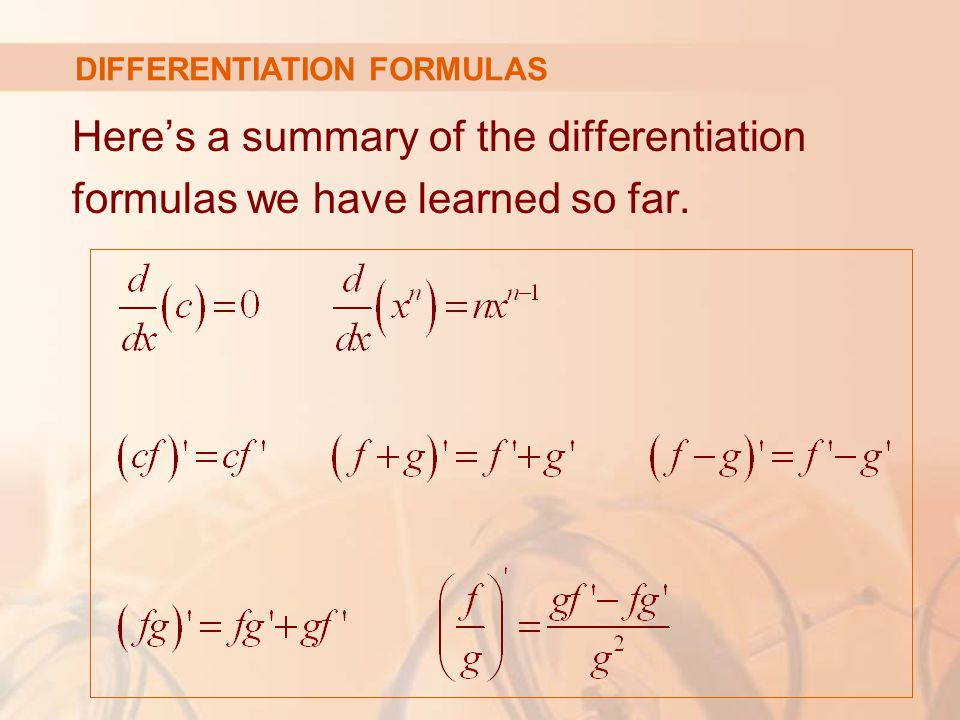 Here's a summary of the differentiation