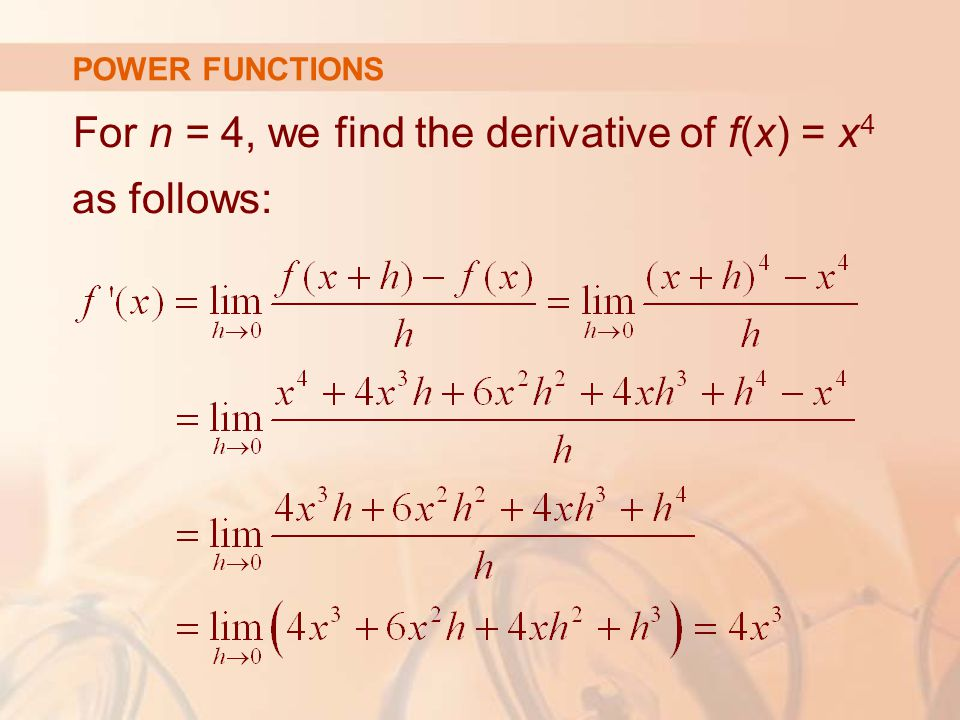 For n = 4, we find the derivative of f(x) = x4 as follows: