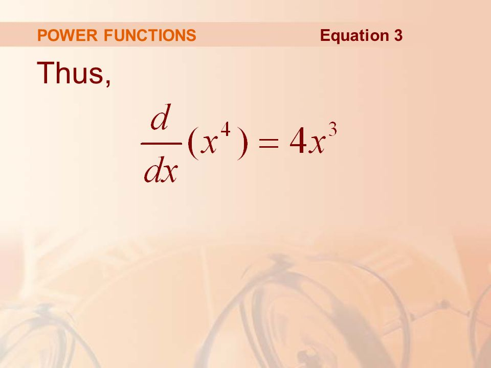 POWER FUNCTIONS Equation 3 Thus,