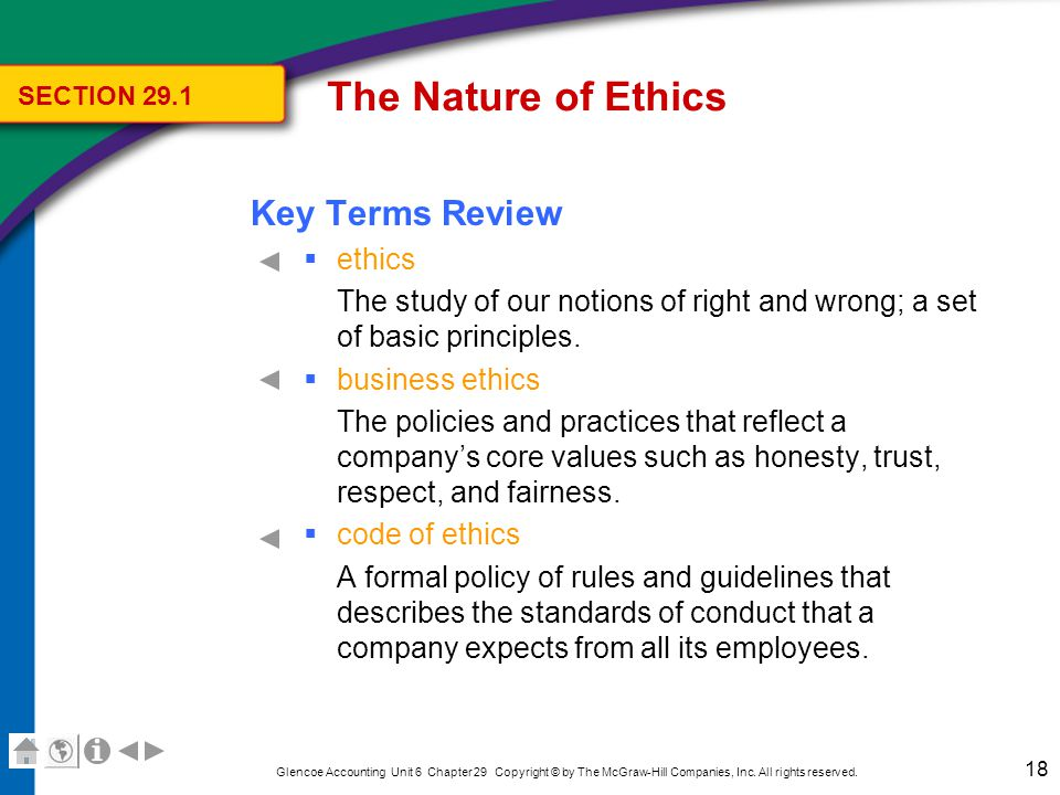 The Nature of Ethics Key Terms Review ethics officer