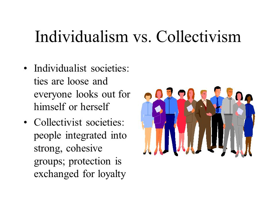 individualism vs collectivism Collectivism is a political, economic, or cultural system that privileges the needs of groups and communities over individuals see some examples.