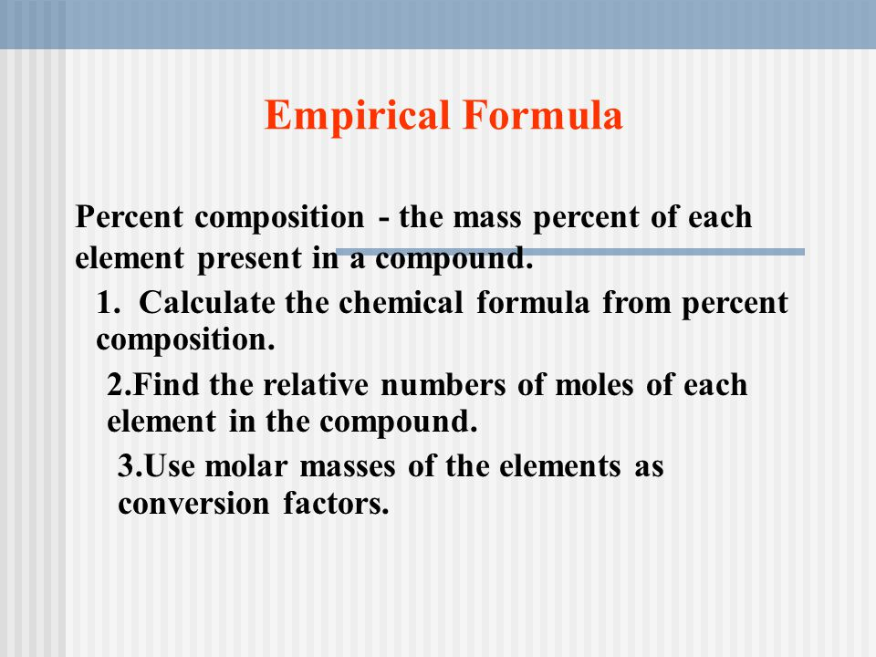 How you measure how much ppt video online download empirical formula percent composition the mass percent of each element present in a compound ccuart Images