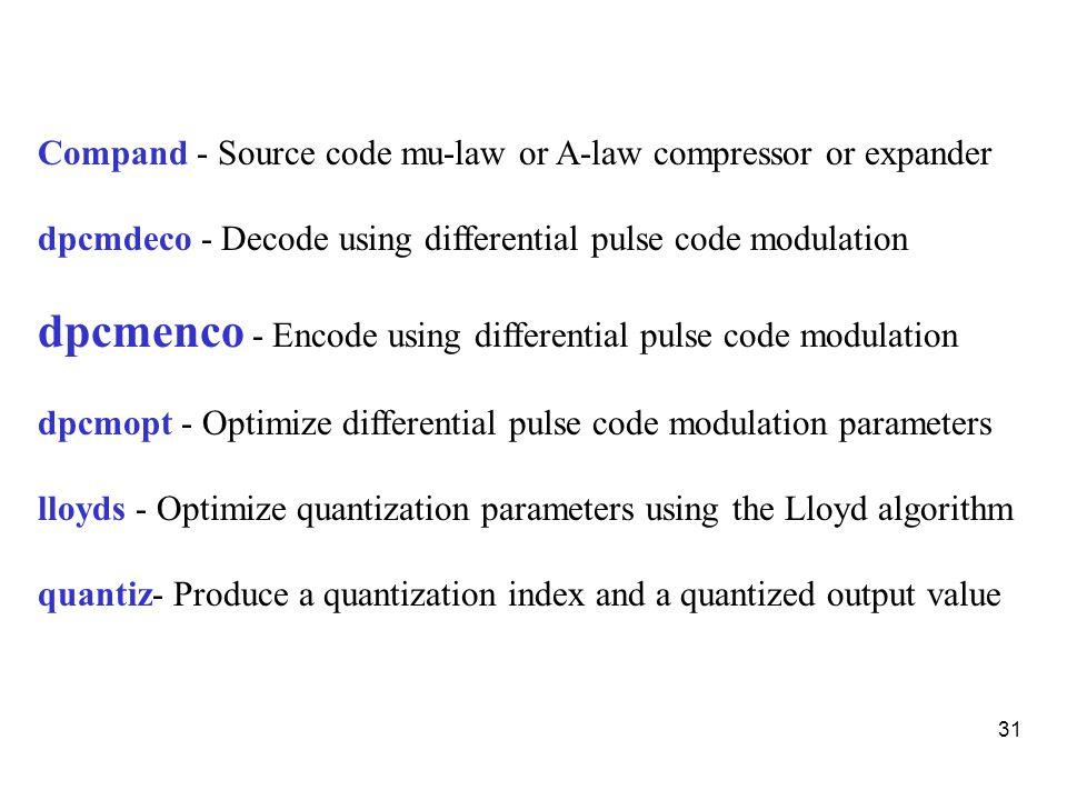 Matlab Program For Uniform Quantization Encoding Decoding