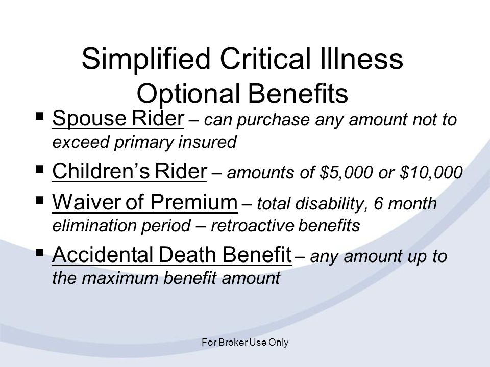 Simplified Critical Illness Optional Benefits