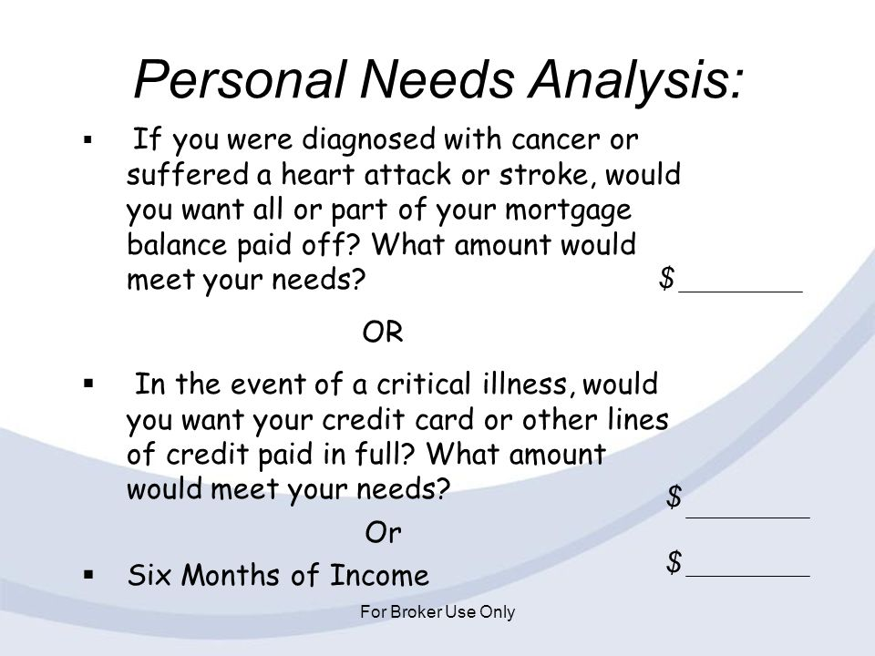 Personal Needs Analysis:
