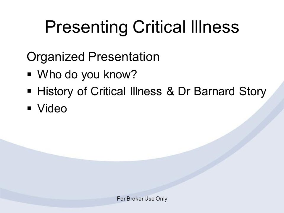 Presenting Critical Illness