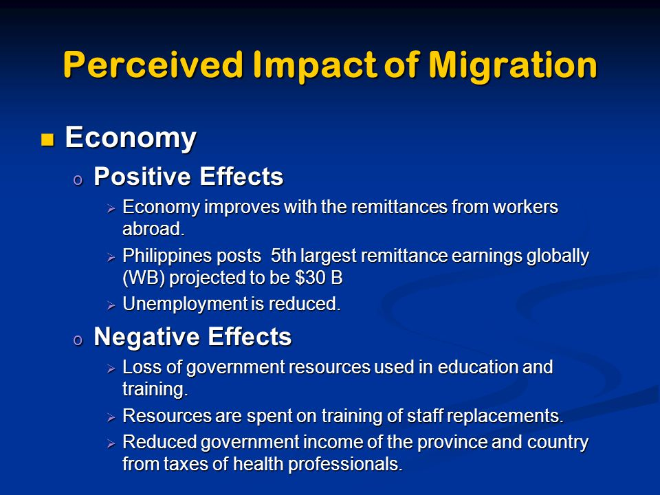 effect of migration on the economy 52 migration creates multiplier effects in the local economy  migration on poverty and development  what are the multiplier effects of migration.