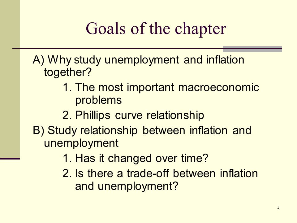 relation between inflation rate and unemployment 163 inflation and unemployment in the long run  this section examines forces that affect the values of inflation and the unemployment rate in the long run.