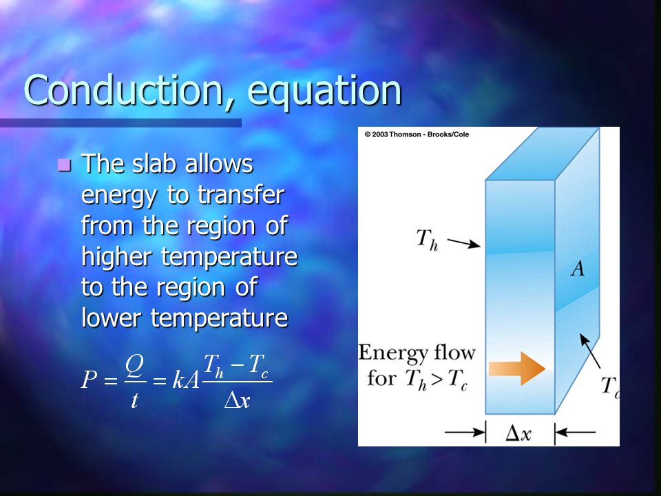 Conduction, equation The slab allows energy to transfer from the region of higher temperature to the region of lower temperature.