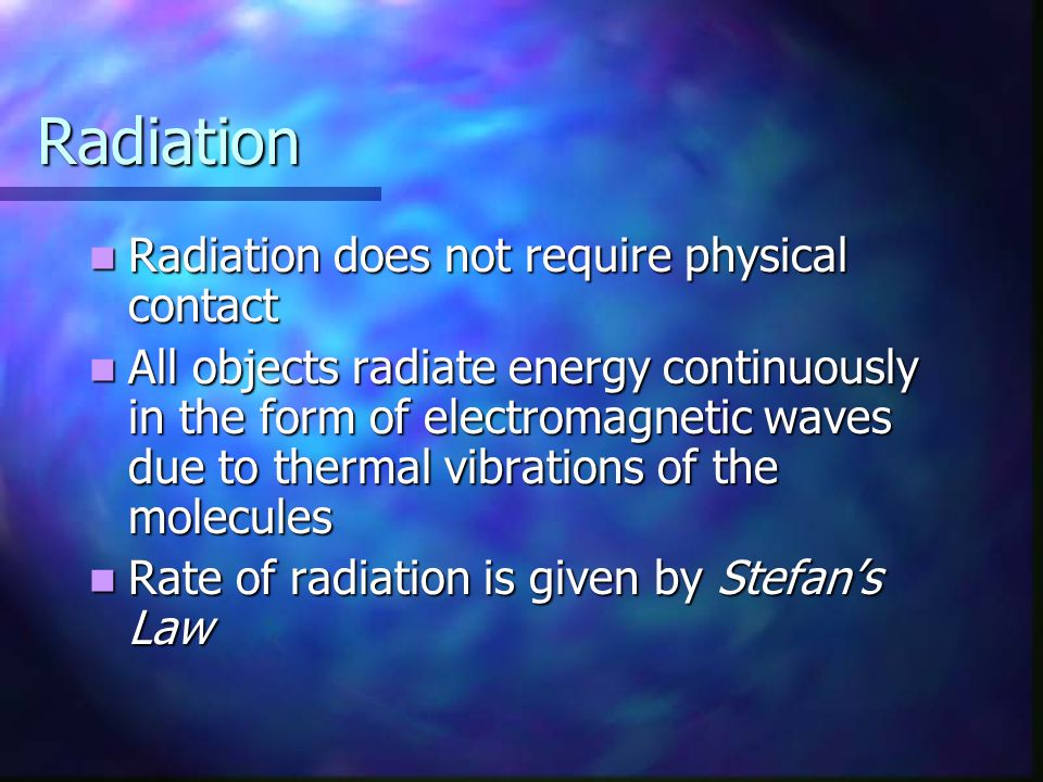 Radiation Radiation does not require physical contact