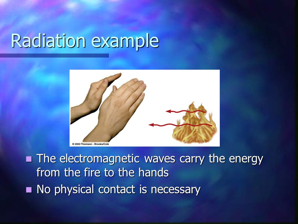 Radiation example The electromagnetic waves carry the energy from the fire to the hands.