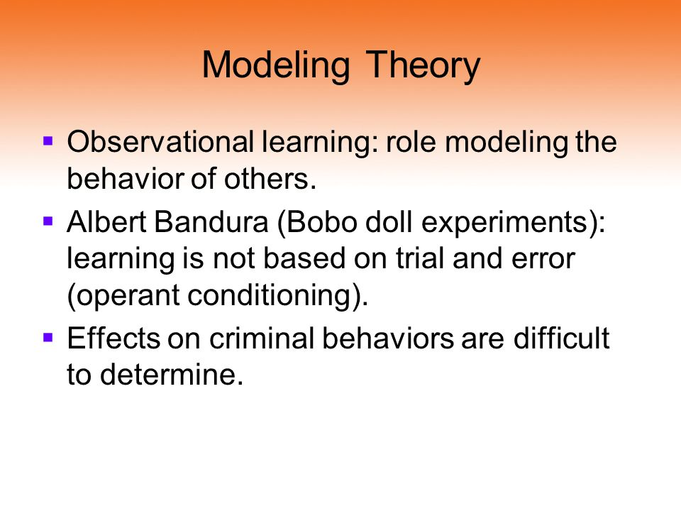 Modeling Theory Observational learning: role modeling the behavior of others.
