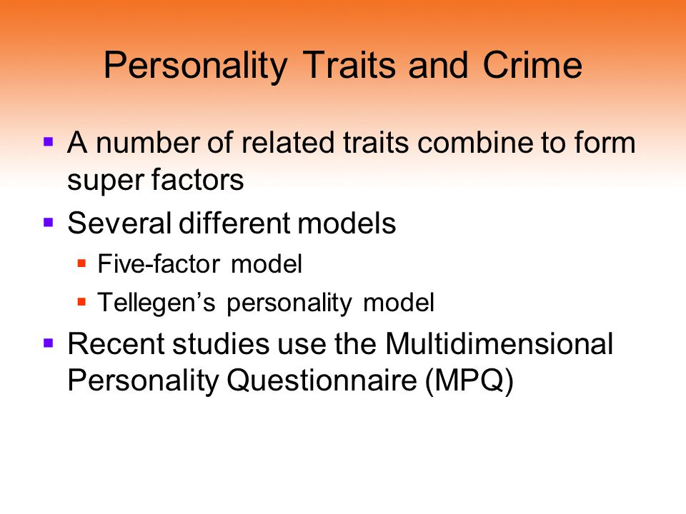 Personality Traits and Crime