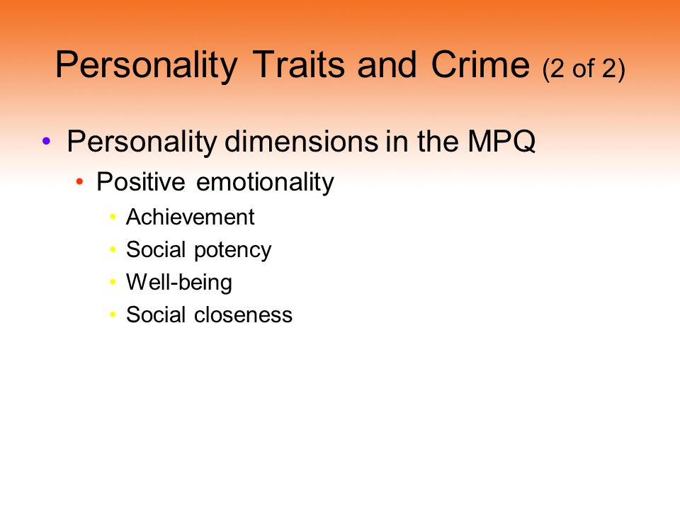 Personality Traits and Crime (2 of 2)