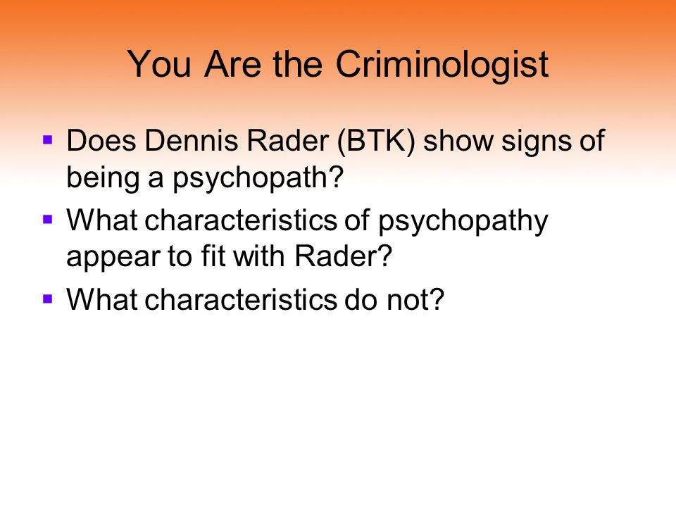You Are the Criminologist