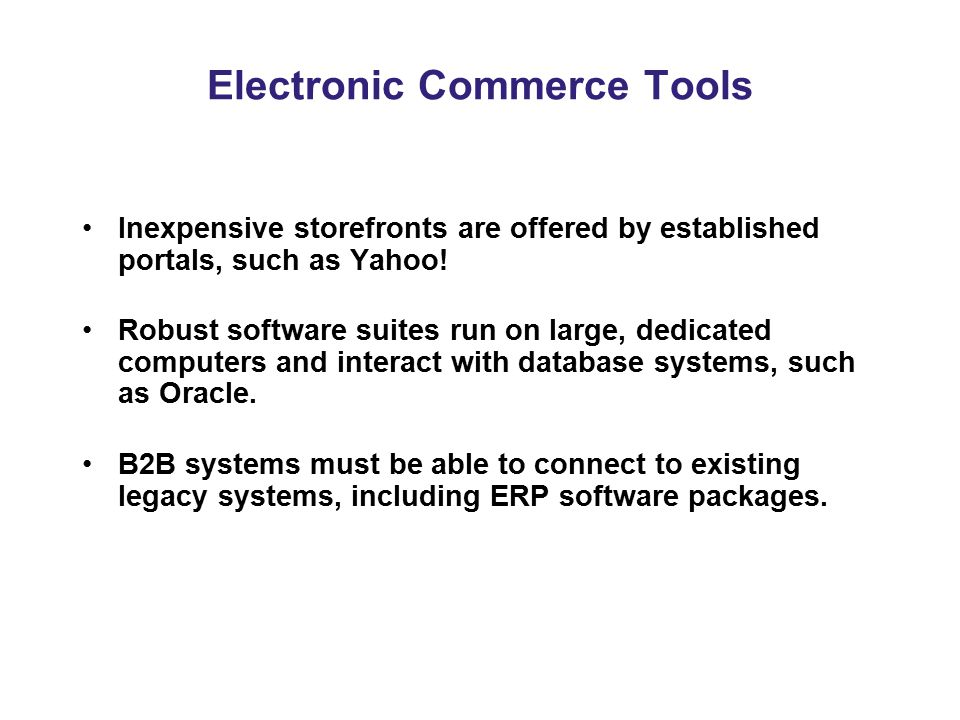 Electronic Commerce Tools