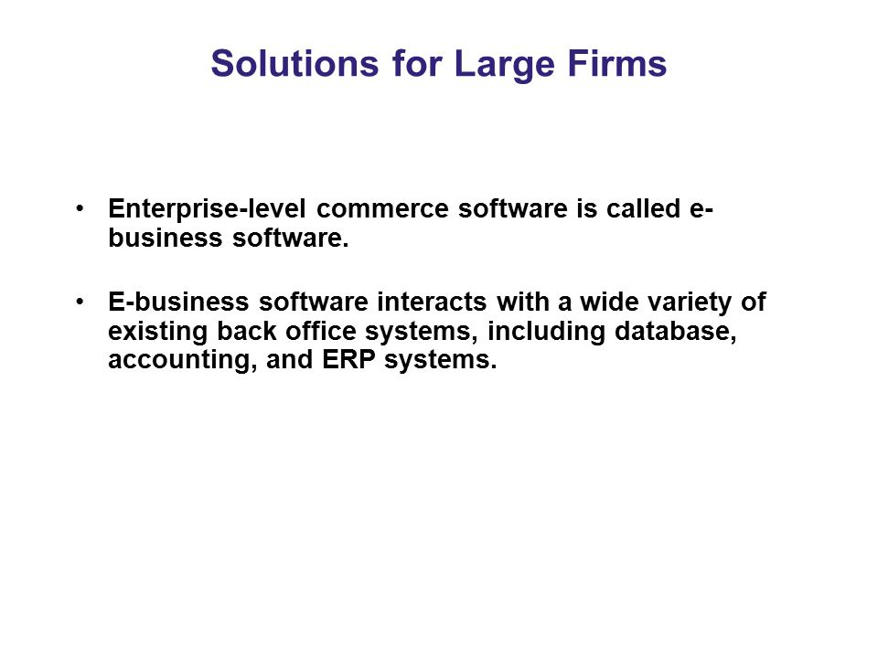 Solutions for Large Firms