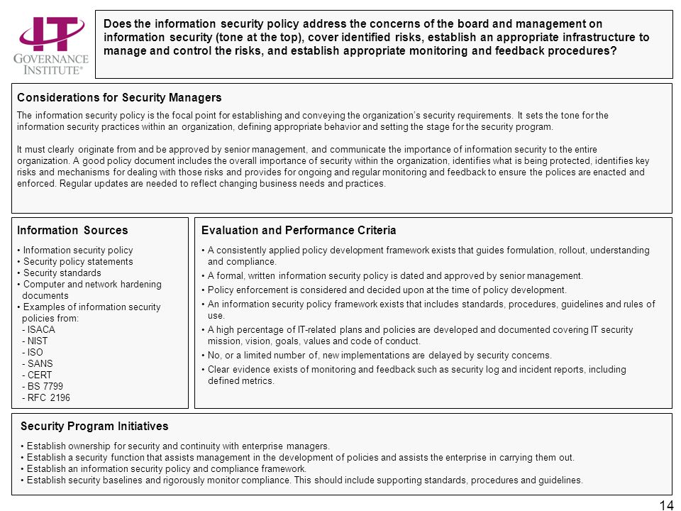 Information security governance top actions for security for Security policy framework template