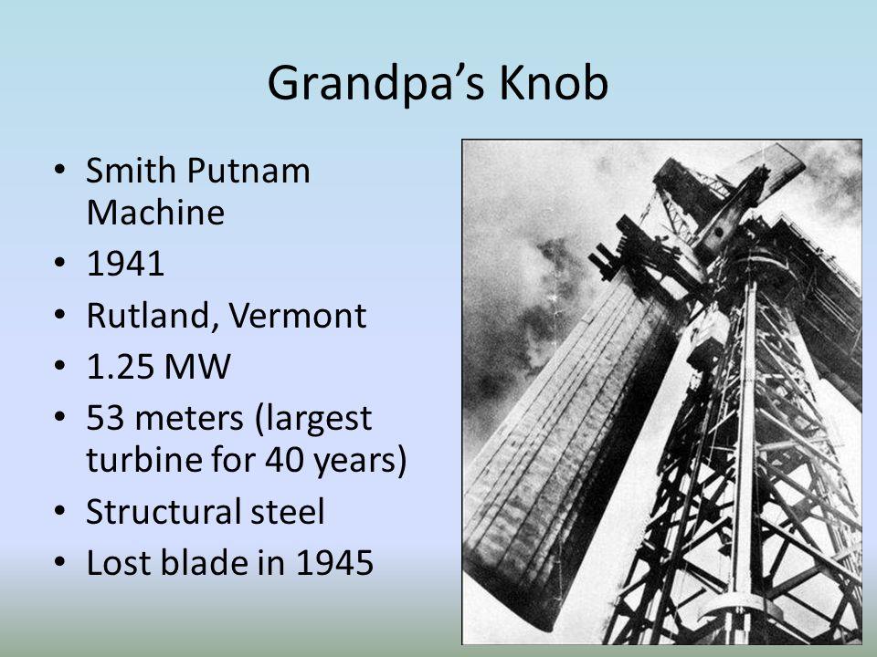 Grandpa's Knob Smith Putnam Machine 1941 Rutland, Vermont 1.25 MW